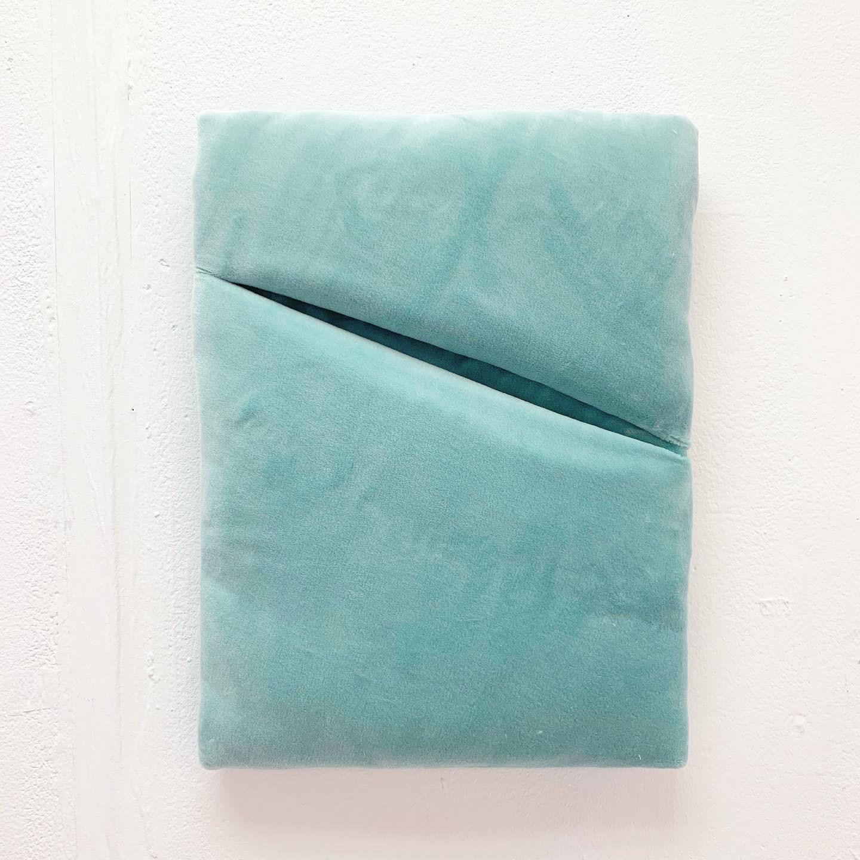 Untitled 2019 (Aqua Velvet Wall Object) 31cm x 41cm Cotton Velvet, wool fibre on wood frame.