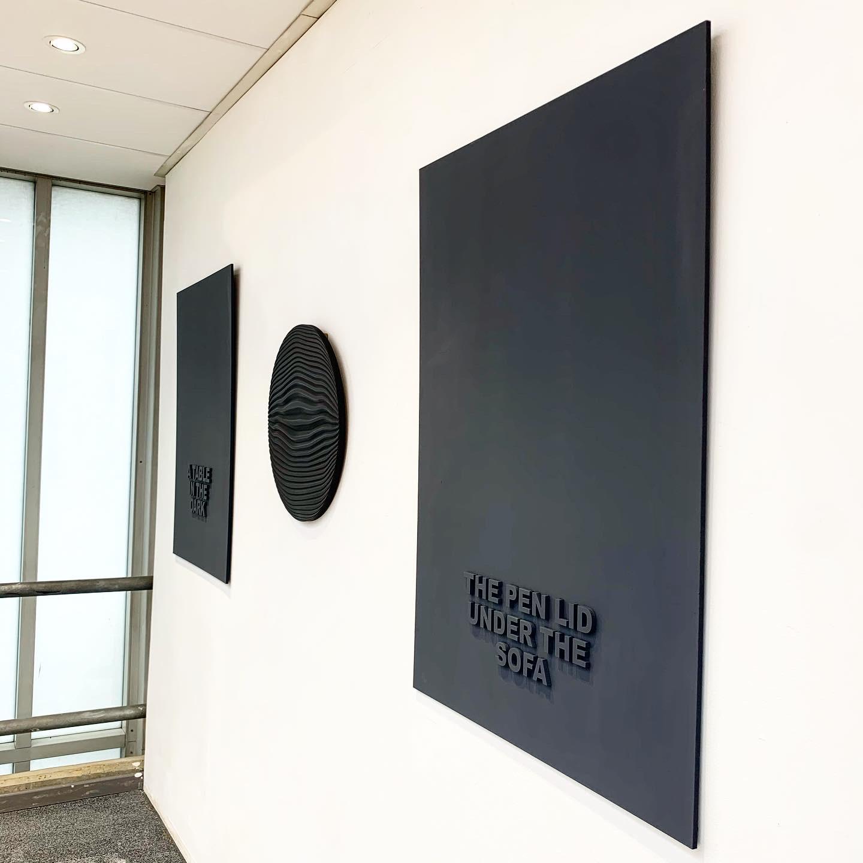 """The Pen Lid Under the Sofa"" 110cm x 75cm - Black Medite panel and matt paint."