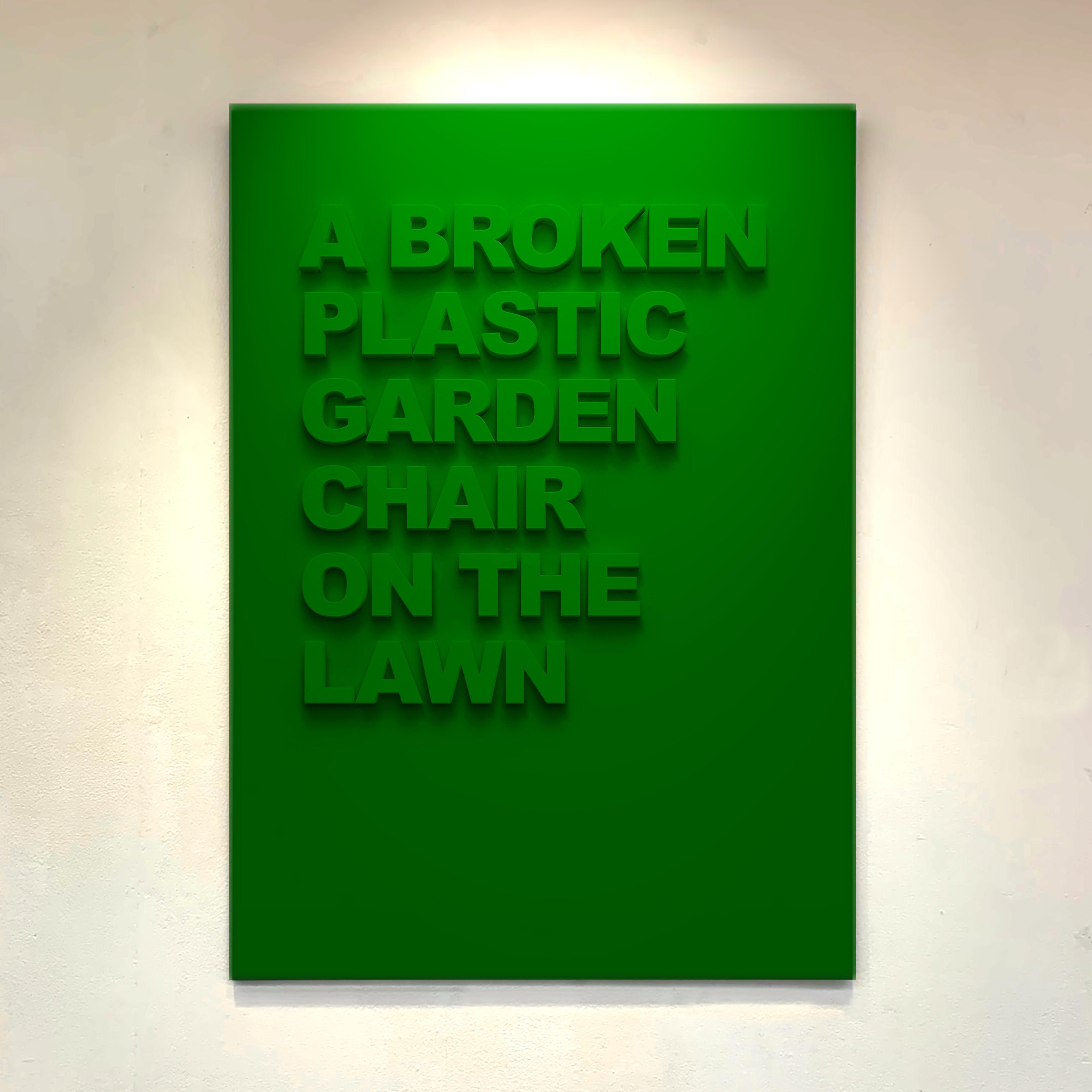 """A broken Plastic Chair on the Lawn"" 110cm x 75cm - Black Medite panel with matt paint."