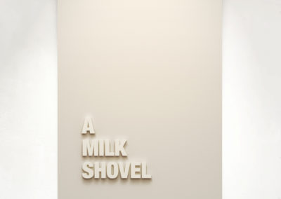 """A Milk Shovel"" 2019. 110cm x 75cm – Medite panel and matt paint."