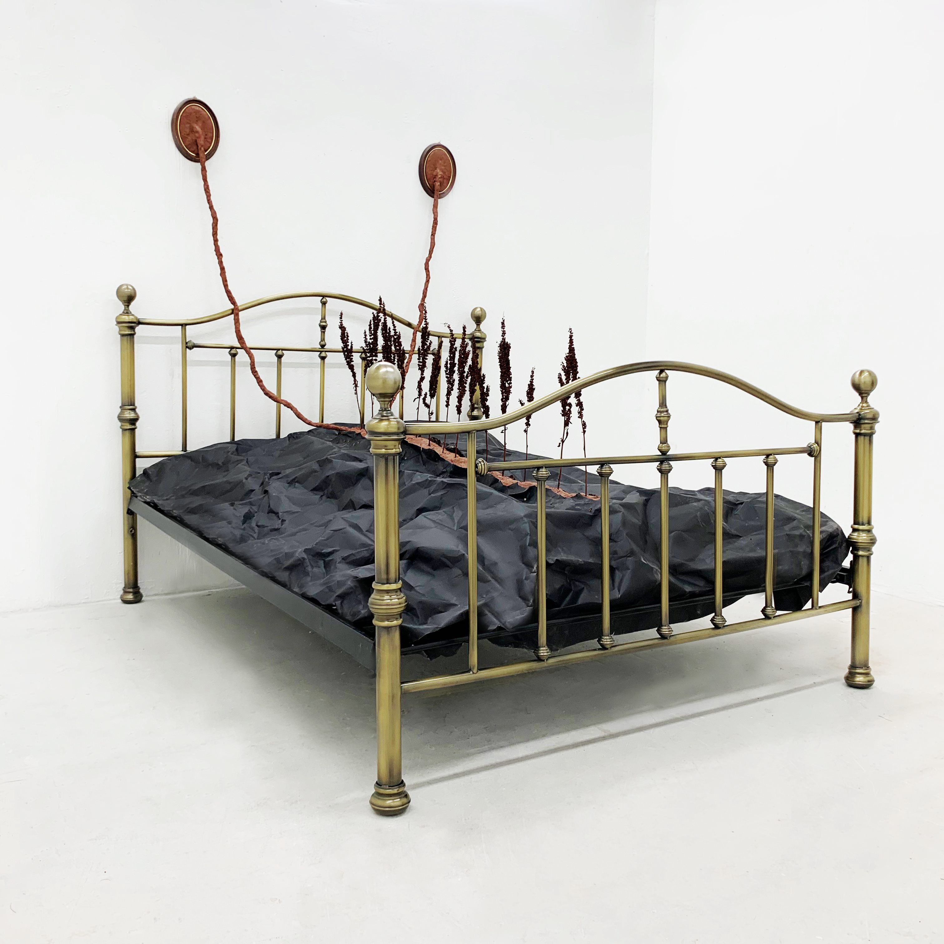 Untitled 2019 (Incubator) Bedstead, clay, paper, plants, wood frames.