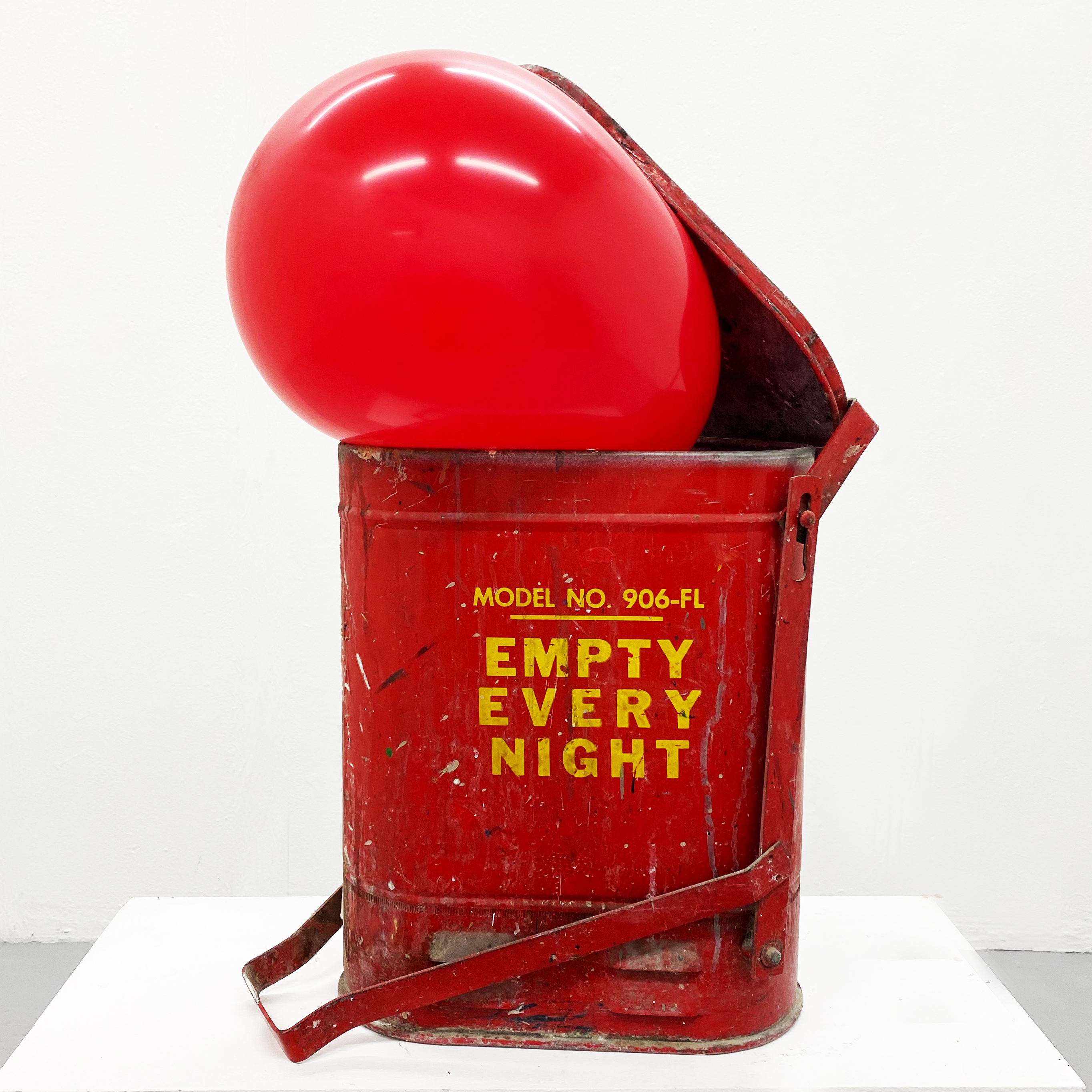 'Empty Every Night'. 2020. Safety bin and balloons.