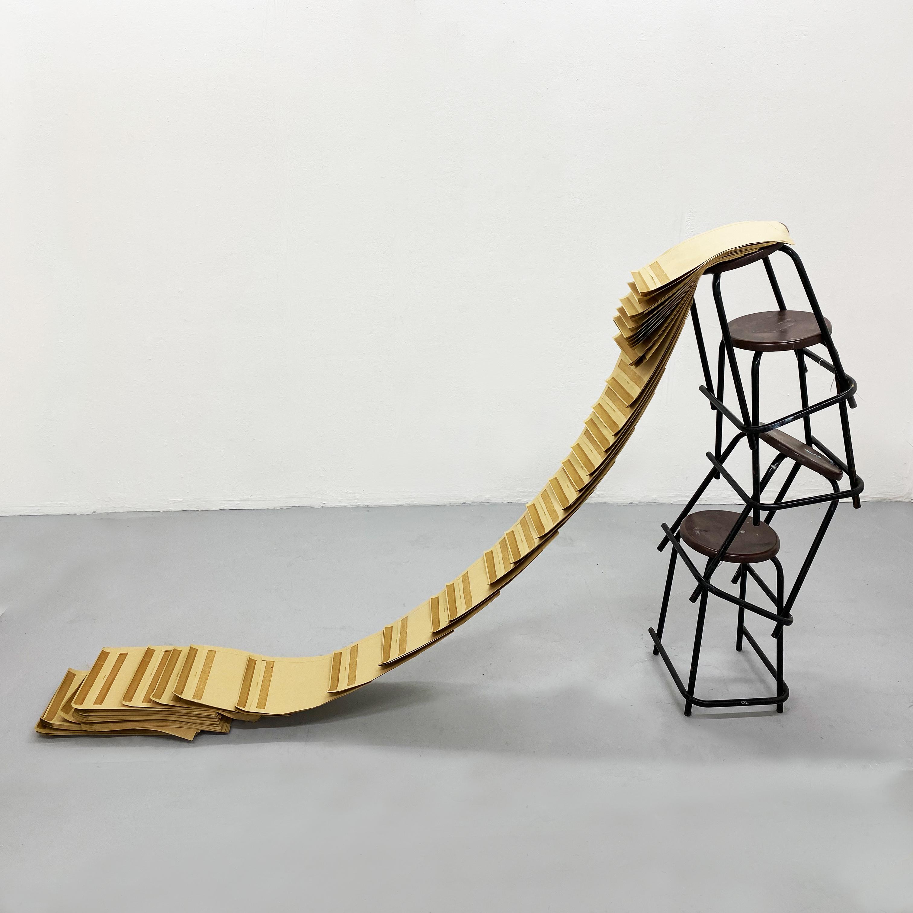 Spillage. 2020. Workshop stools and manilla envelopes.